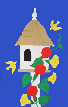 Birdhouse & Trumpet Vines Flag on Royal with Red Flowers