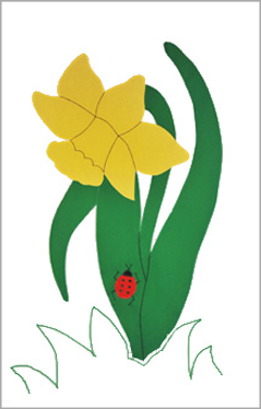 Daffodil Applique House Flag on White