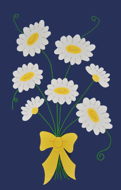 Daisy Bouquet Applique House Flag on Navy