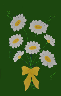 Daisy Bouquet Applique House Flag on Forest