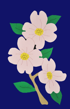 Dogwood Blossoms Applique Flag with Pink Blooms