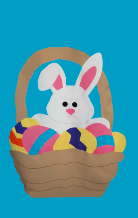 Easter Bunny & Basket Flag on Turquoise