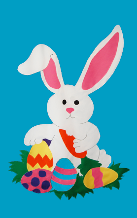 Easter Bunny & Eggs Flag on Turquoise