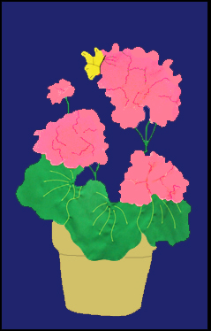 Geraniums in Pot Flag on Navy with Pink