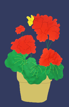Geraniums in Pot Flag on Navy with Red
