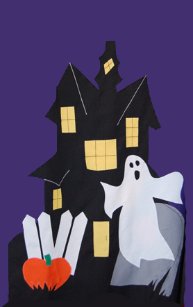 Haunted House Applique House Flag