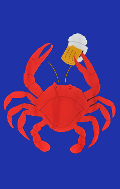 Crab with Beer Applique Flag on Royal