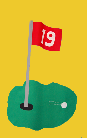 Golf 19th Hole Flag on Yellow