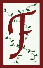 Initial Monogram 'F' Applique House Flag