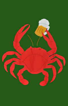 Crab with Beer Applique Flag on Forest
