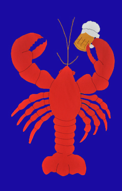 Lobster & Beer Mug House Flag on Royal