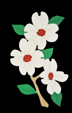 Dogwood Blossoms Applique Flag with White Blooms