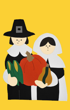 Thanksgiving Pilgrims Applique Flag on Yellow