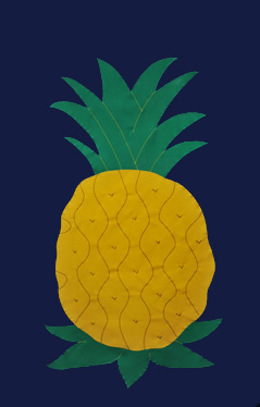 Pineapple Applique House Flag - Navy