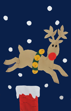 Rudolph Jumping Over Chimney Applique Flag