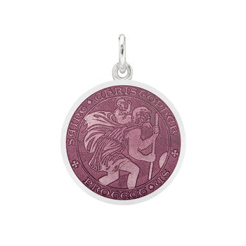 St Christopher Medal-Small - Lavender