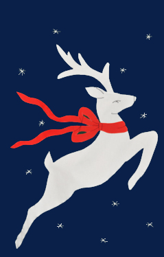Snow Deer Applique House Flag on Navy