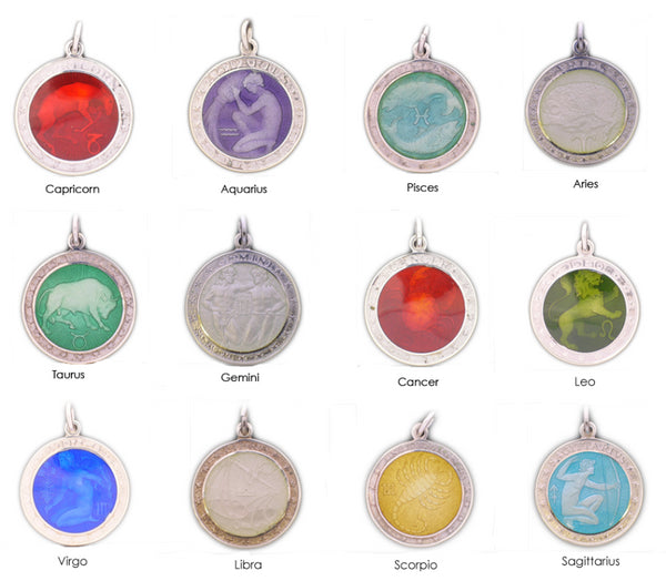 Enameled Zodiac Medal - Medium (Size of a quarter)