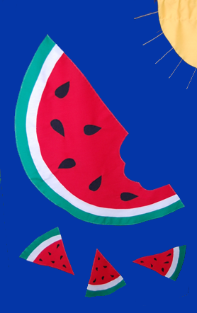Watermelon Flag - Red on Royal