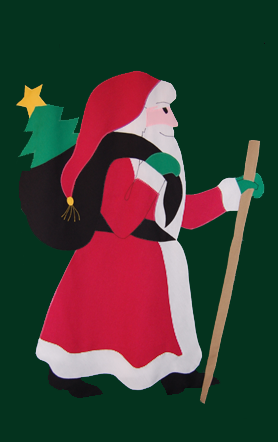 Old St. Nick Santa Flag on Forest with Red Robe