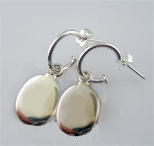 Sterling Silver Oval Hoop Earrings - Engraveable