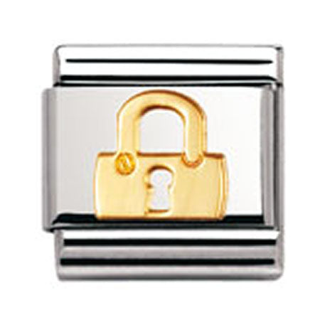 Authentic Nomination Link - Lock - Gold