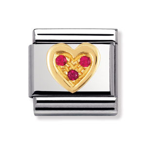 Authentic Nomination Link - Heart with Arrow - Red CZ
