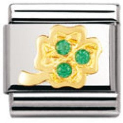Authentic Nomination Link - Shamrock - Green CZ