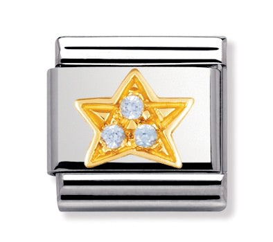 Authentic Nomination Link - Star - Light Blue CZ