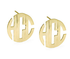 Jane Basch Block Monogram Post Earrings - 14K Gold or Gold Vermeil