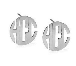 Jane Basch Block Monogram Post Earrings - Sterling Silver