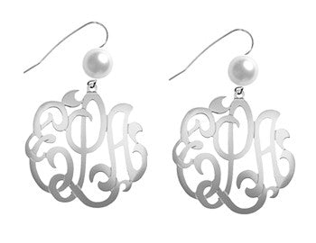 Jane Basch Lace Monogram Earrings/Pearl- Sterling Silver