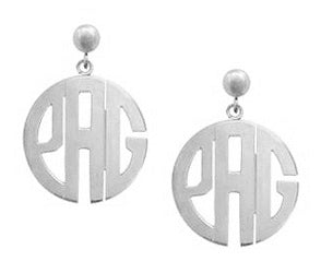 Silver Block Monogram Drop Ear
