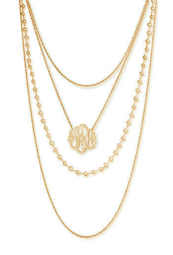 Jane Basch Designs Layers of Luxe Monogram Necklace - Gold