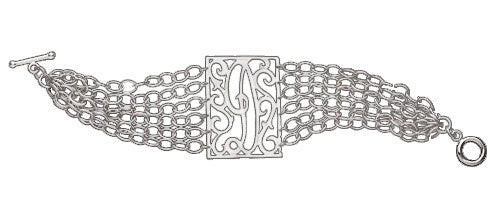 Jane Basch Sterling Silver Lace Rectangle Initial Bracelet