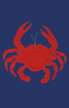 Crab Applique House Flag on Navy