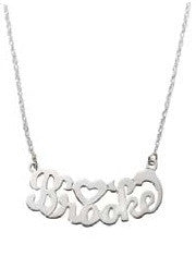 Jane Basch Nameplate Necklace - Script & Heart