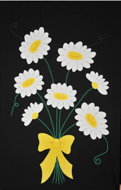 Daisy Bouquet Applique Flag on Black