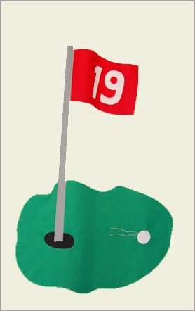 Golf 19th Hole Flag on Ivory