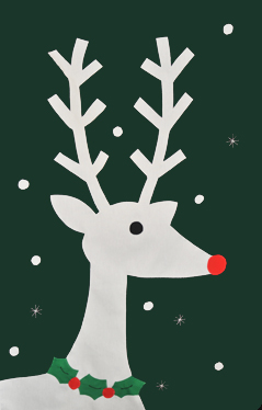 Reindeer & Holly Applique Flag on Forest