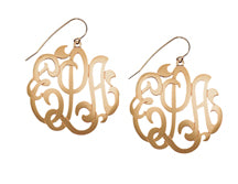 Jane Basch Designs Earrings - Lace Monogram - Gold