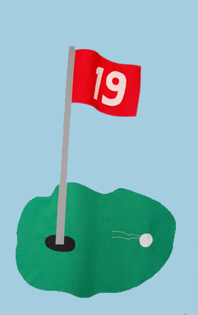 Golf 19th Hole Flag on Sky Blue