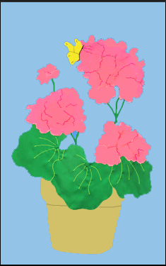 Geraniums in Flower Pot Flag on Sky Blue with Pink