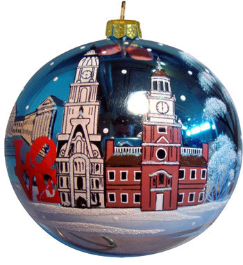 Philadelphia Landmarks Ornament - Blue