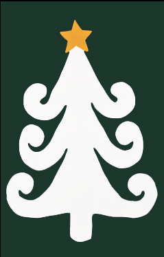 Curly White Tree with Star Applique House Flag on Forest