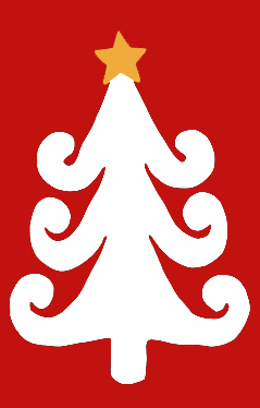 Curly White Tree with Star Applique House Flag on Red