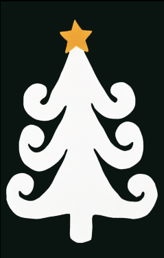 Curly White Tree with Star Applique House Flag on Black