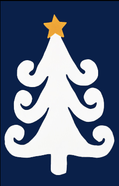 Curly White Tree with Star Applique House Flag on Navy