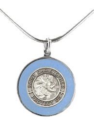 Silver St Christopher Medal - French Blue Rim