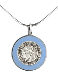 Silver St. Christopher Medal with Enamel Rim